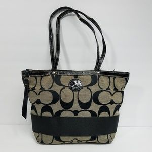 Coach Signature stripe black Canvas Tote  F19046